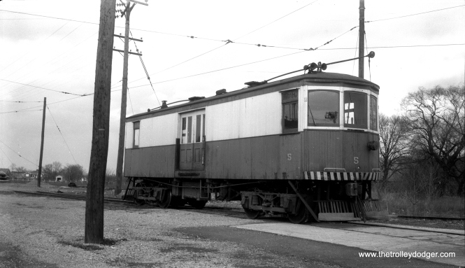 "The Hagerstown & Frederick was a Maryland interurban in sparsely populated rural areas, a veritable real-life ""Toonerville Trolley."" Despite having practically no ridership, it subsisted on freight and somehow managed to survive into the mid-1950s. Here, we see freight motor #5 in Frederick, Maryland on April 11, 1954. (Gene Connelly Photo)"