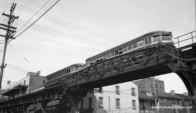 "The photo caption reads, ""Two car streamline train arriving at Norristown, looking up from R. R. tracks."" The date is May 12, 1935, meaning these ""Bullet"" cars were just a few years old."