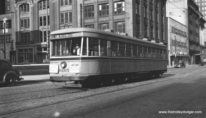 Baltimore Transit Company car 6105, shown here on route 15 - Ostend St., is one of the last modern streetcars built before PCCs took over the market. The sign on front says that September 7 will be the last day for 6 hour local rides. Perhaps that can help date the picture.