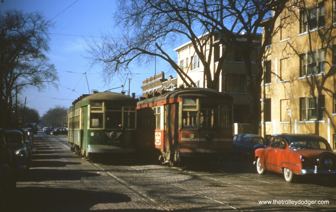 "Here are some Christmas colors for you. On January 23, 1954, CTA 1782 passes 1774 at the west end of the Lake Street line near Austin Boulevard. Since 1782 has already been repainted green, it most likely could not have been the car in the 1780 series that was oddly renumbered as ""78"" on the Madison-Fifth shuttle a short time later (see a picture on our previous post Chicago Streetcars in Black-and-White (January 23, 2015). The Park Theater, by then already shuttered, was behind the two streetcars."