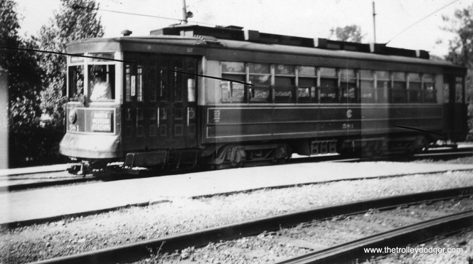 This damaged photo of CSL 581 was taken at the Imlay Loop at the outer end of route 56 - Milwaukee, on August 4, 1935. (Earl W. McLaughlin Photo)