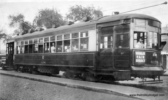 Here, we see CSL 6176 on Broadway at Berwyn (5300 N.). This Broadway-Wabash car is going direct to the World's Fair gates at 18th and 23rd Streets on August 4, 1934. (Earl W. McLaughlin Photo)