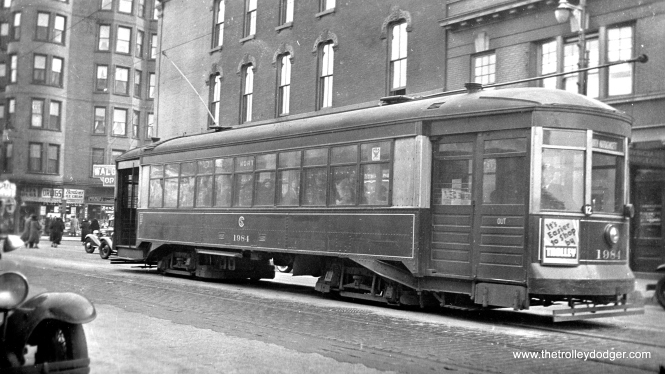 CSL 1984, built by the Chicago Railways Company in 1913-1914, is shown at the east end of the North Avenue line on November 24, 1934. That's Clark Street in the rear. When route 72 was changed to trolley bus in 1949, buses continued to a new turnaround loop east of Clark. The building at rear is the old Plaza Hotel. To see it from another angle, check out our post Trolley Dodger Mailbag, 2-28-2016. (Earl W. McLaughlin Photo)