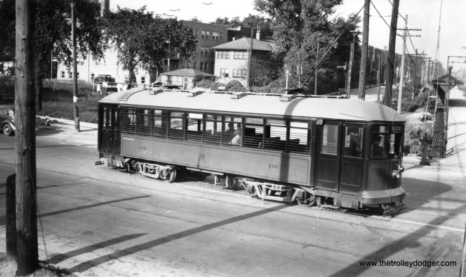 "C&WT 101 at the same location in 1936. Note the Harlem stop on the Burlington commuter line at right. Don's Rail Photos adds, ""101 was built by McGuire-Cummings in 1917. It was scrapped in 1948."""