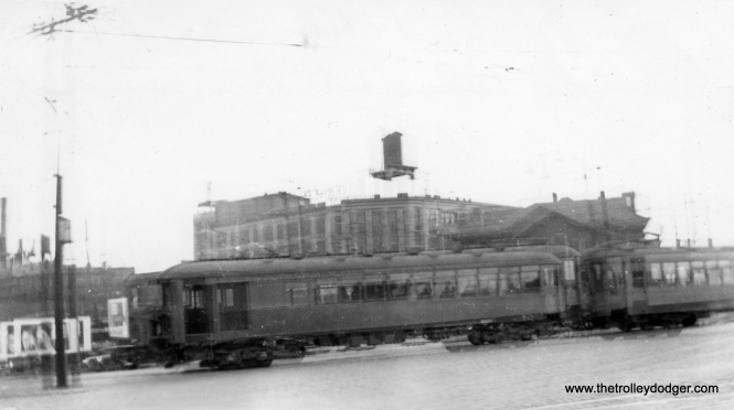 This is not a very good picture, technically (it appears to be a double exposure) but it does show the North Shore Line in Milwaukee in 1934.