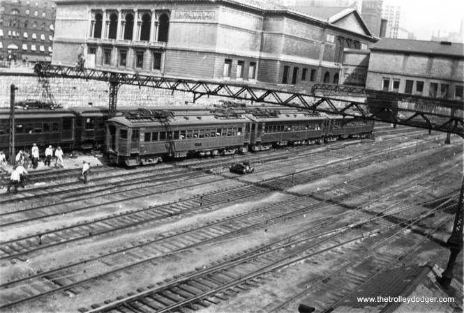 South Shore Line cars 33, 24 and ? near Chicago's Art Institute on August 17, 1931.