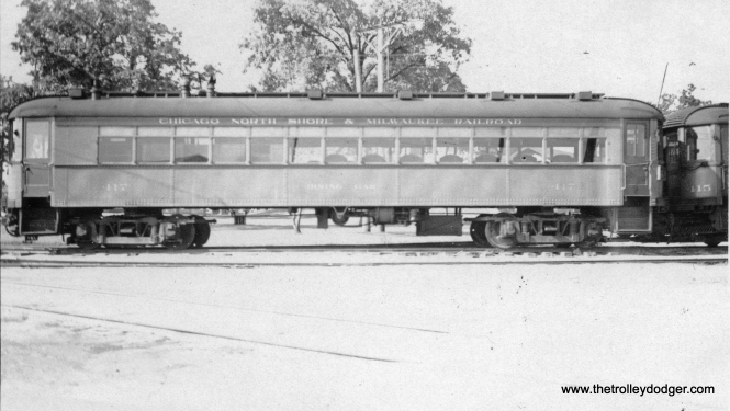 "Chicago, North Shore & Milwaukee dining car 417 at Highwood. Don's Rail Photos: ""417 were built by Cincinnati Car in June 1924, #2905 as dining car trailer. It was rebuilt as a tavern-lounge on November 8, 1940. It was out service by 1951, retired on December 31, 1955, and scrapped in 1959."""