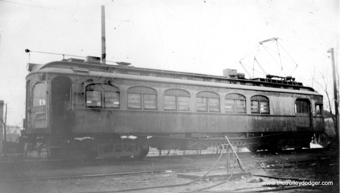 "This is another photo that was not properly fixed in development. Don's Rail Photos: ""1126 was a work motor built by Niles in 1908 as CLS&SB 73. In 1927 it was rebuilt into work motor 1126. In 1941 it was sold and converted to a house. In 1994 it was purchased for restoration from a buyer who had picked it up the month before for back taxes. He really did not want the car, just the land. Bob Harris began restoration in 2005 and plans to complete it in 2009."" (James B. M. Johnson Photo)"