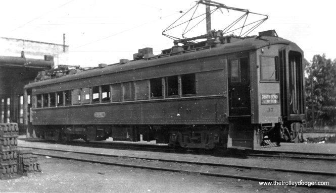 "South Shore Line car 37. Don's Rail Photos: ""37 was built by Standard Car in 1929,, #P-3380. It was air conditioned and sold to IRM in 1983."""