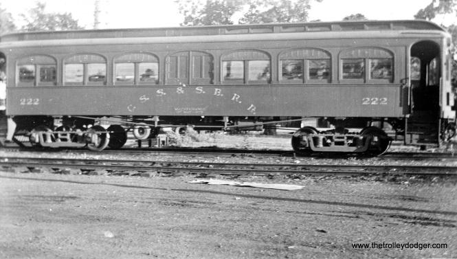 "Here is a rare picture. Don's Rail Photos notes, ""222 was built by Kuhlman in 1908 for the CLS&SB and was numbered between 101 and 110. It was rebuilt in 1927 to a deluxe coach and numbered 222. Shortly afterwards, when the 200s arrived, it was used by the Way & Structures Dept. Later it was used as a newspaper car, and it was scrapped in 1941."" It is identified in this picture as a maintenance of way car."