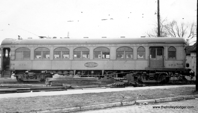 Illinois Terminal car 273 in Bloomington in March 1936. (Robert M. Hanft Photo)
