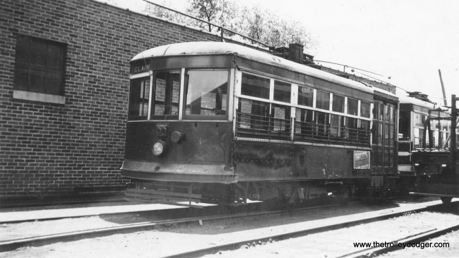 "Another rare photo. This is Aurora, Elgin & Fox River Electric ""Birney"" city car #72 in May 1934. Caption: ""Color: Orange. 2 Motors. This system, which operated local cars in Aurora and Elgin, as well as an interurban line between those two cities, abandoned April 1, 1935."" Actually, a small portion of the AE&FRE did survive in South Elgin as a freight line, which has now morphed into the Fox River trolley Museum. (Earl W. McLaughlin Photo)"
