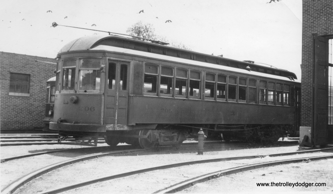 Again, a rare picture. This is AE&FRE car #206 in Aurora in May 1934. Color: Brown. (Earl W. McLaughlin Photo)