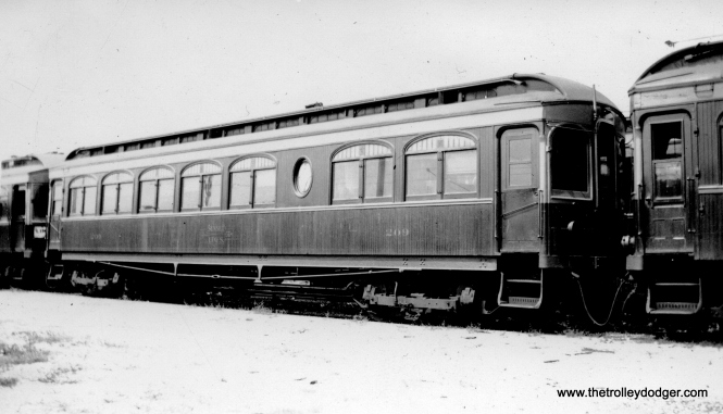 "Caption: ""Chicago, Aurora & Elgin trailer 209. This car has controls (like CSS&SB 207) but no motors. Built by Niles."" Don's Rail Photos: """"Carolyn"" was built by Niles Car in 1904. It was rebuilt as 209, a trailer coach, in 1924 and rebuilt in May 1939. It was retired in 1959."""