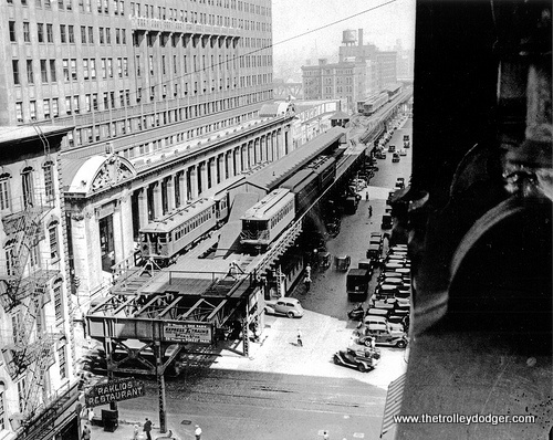 "The old Market Street stub-end ""L"" terminal, which was used by Lake Street trains until the late 1940s. It was demolished shortly thereafter, and Market Street itself was turned into the north-south portion of Wacker Drive in the 1950s."