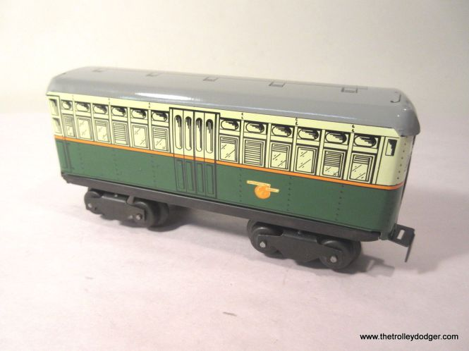 "This is one car from a three-car CTA ""4500s"" powered train set that will actually operate on a layout and has sound effects and lights. This was obviously patterned after the 6000s but with only one set of ""blinker"" doors."
