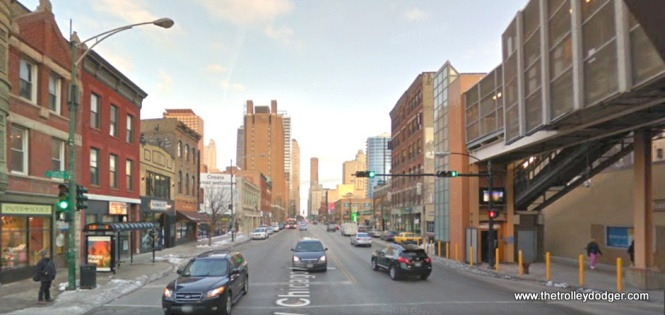 """A contemporary view of Chicago Avenue looking east from the """"L""""."""