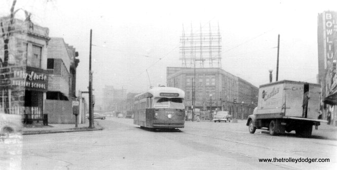 Broadway, Sheridan Road, and Montrose looking north in 1955. (Edward Frank, Jr. Photo)