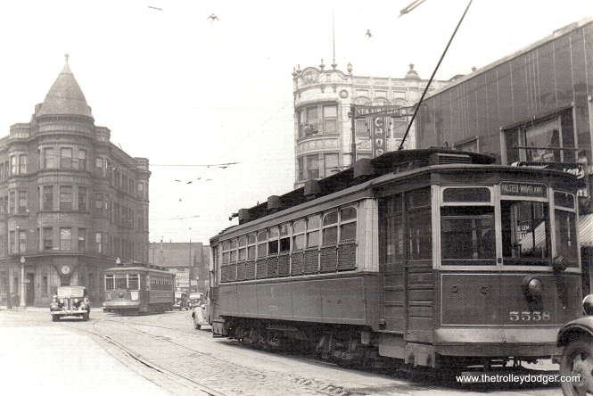 Here, CSL 5558 is northbound at the intersection of Clark, Diversey, and Broadway. The southbound car is on Broadway. The time period is probably circa 1940. (Edward Frank, Jr. Photo)