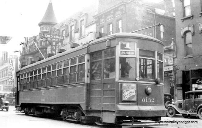 CSL 6152 is southbound at Clark and Division in the 1930s. (Edward Frank, Jr. Photo)