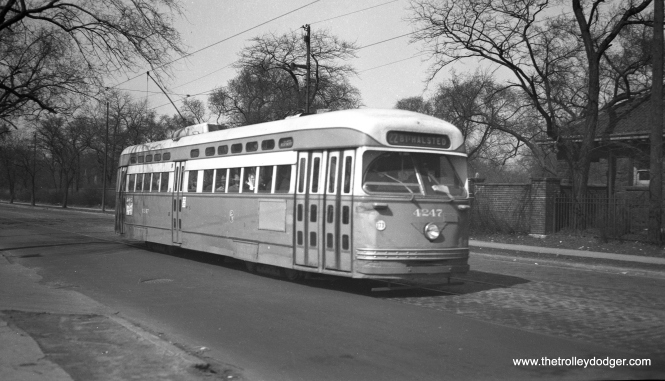 CTA 4247 is southbound at Clark just north of Irving Park in March 1953.
