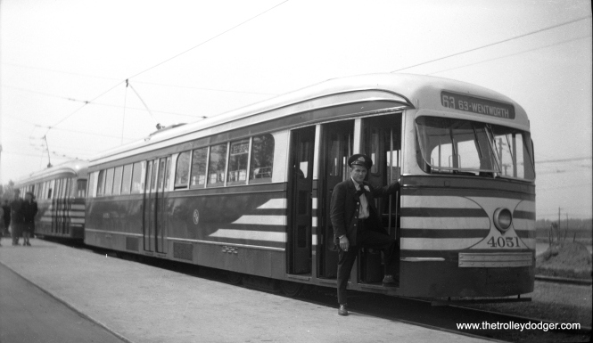 The motorman of CTA 4051 poses with the prewar PCC at 63rd and Narragansett on May 5, 1950. This was the west end of route 63.