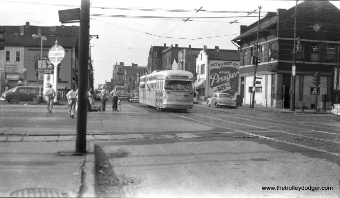 CTA 4283 is southbound on Halsted at Cermak (22nd Street) in May 1954.