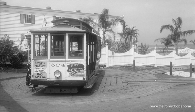 San Francisco cable car 524, shown here at the Chicago Railroad Fair in 1949, operated over a short section of track where the cable pulled it up an incline over a short distance. This made it the last cable car to operate in Chicago. 524 is back in San Francisco, and still operates there as far as I know.