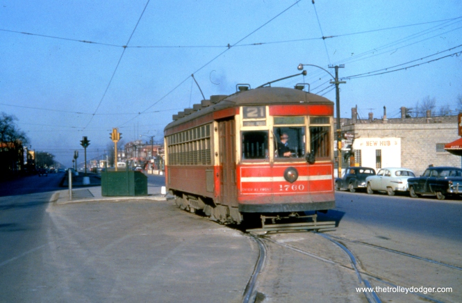 "CTA 1760 at Cermak and Kenton, west end of route 21, on March 21, 1954. This was the city limits. When the nearby Douglas Park ""L"" was cut back to 54th Avenue in 1952, CTA began running an ""interurban"" bus west of here. Bus route 21 now goes all the way to the North Riverside Mall, just west of Harlem Avenue."