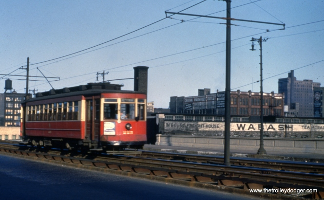 CTA 225 is on Roosevelt near State in Apri1 1951. This car is now preserved at the Seashore Trolley Museum in Maine.