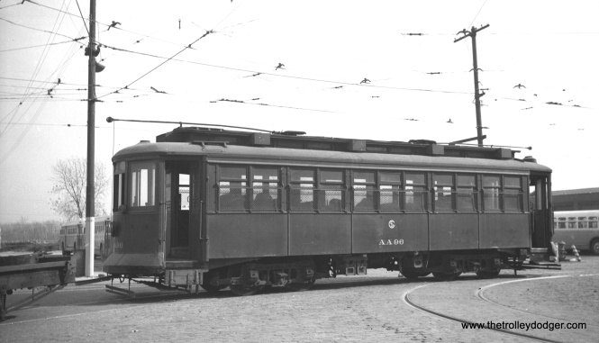 CTA salt car AA96 in the early 1950s. Formerly CSL 2844, this car had a scrap date of December 27, 1955.