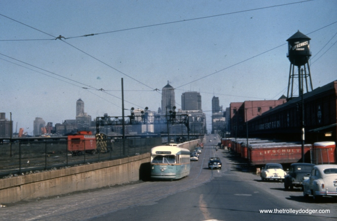 CTA 7266 on Clark at around 15th on Apri 11, 1954, about ready to go under the St. Charles Air Line.