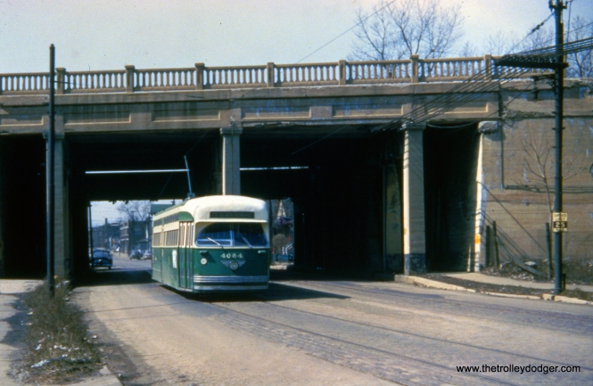 CTA 4084 at 81st and Wallace on March 24, 1954 on route 22. By this time, Pullman PCCs were fast disappearing as they were scrapped for parts recycling into new rapid transit cars. There is a picture of another car at this location on page 233 of CERA Bulletin 146.