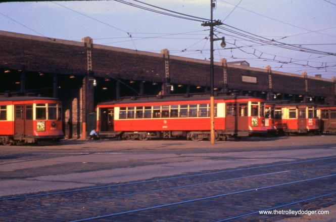 "CTA 201 at the Lawndale Station (car barn) in May 1951. Later, this became the home for the CTA's collection of historic streetcars, until they were dispersed to museums in the mid-1980s. Jeff Weiner notes, ""Ah, the Lawndale barn. It was inactive when I surveyed Ogden, Pulaski, and Cermak for signal modernization in the early 2000's, and has since been torn down. The City put in sidewalks, curb and gutter, and you'd never know that a carbarn had been there."""