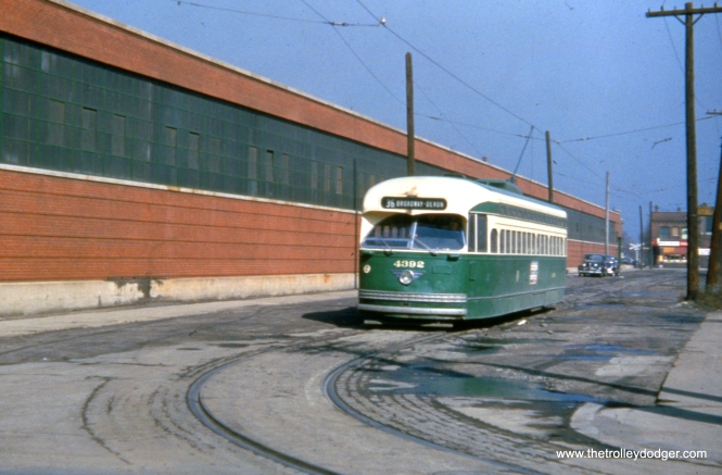 CTA 4392 is at the south end of route 36 on March 21, 1954, somewhere in the vicinity of 120th and Morgan. CTA had plans to build a new off-street loop for these cars at 115th and Michigan, which would have eliminated this portion of the route, but such was never built before streetcar service ended.