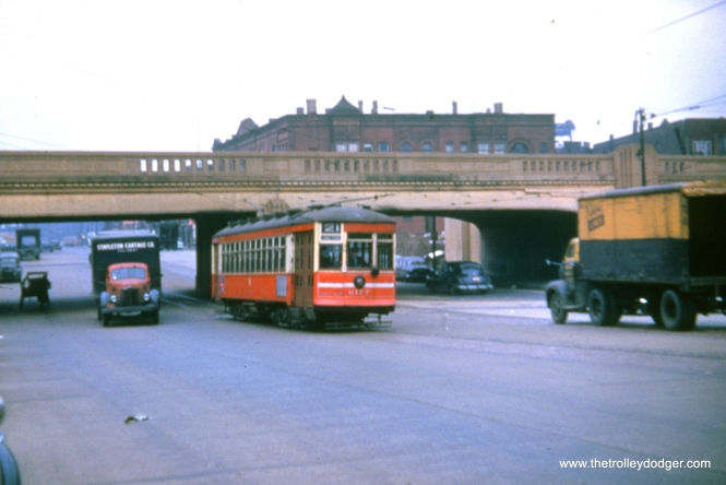 CTA 6177 at Cermak and Clark in March 1950 on route 21.