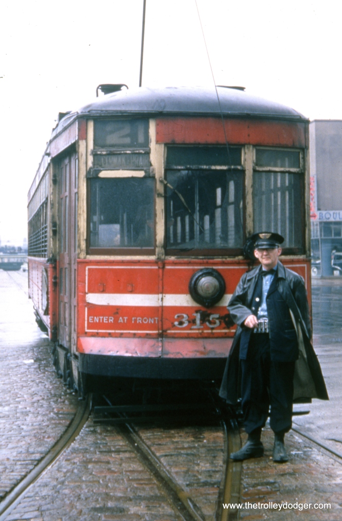 Here, we see one-man CTA 3150(?) and its operator at the east end of route 21 on Cermak and Prairie Avenue in June 1951. Prairie Avenue was also the location of the local Kodak processing plant, which handled Kodachrome until the early 1980s.