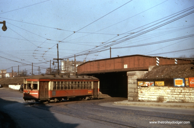 CTA one-man car 1760 on Cermak at the CB&Q (Burlington) tracks on March 21, 1954.