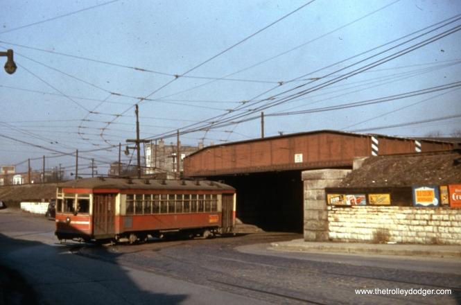 CTA one-man car 1760 on Cermak at the CB&Q (Burlington) tracks on March 21, 1954.