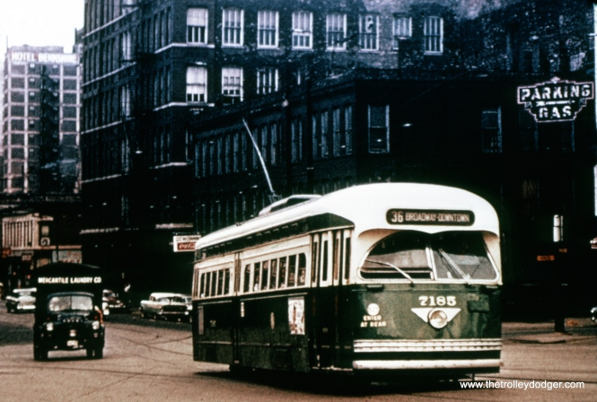 "The ""Broadway Downtown"" sign on this car, and the appearance of the autos in the background, would probably indicate that this picture was taken circa 1956. The south portion of the route 36 Broadway-State Through Route was bussed on December 3, 1955, and the remaining half on February 16, 1957."