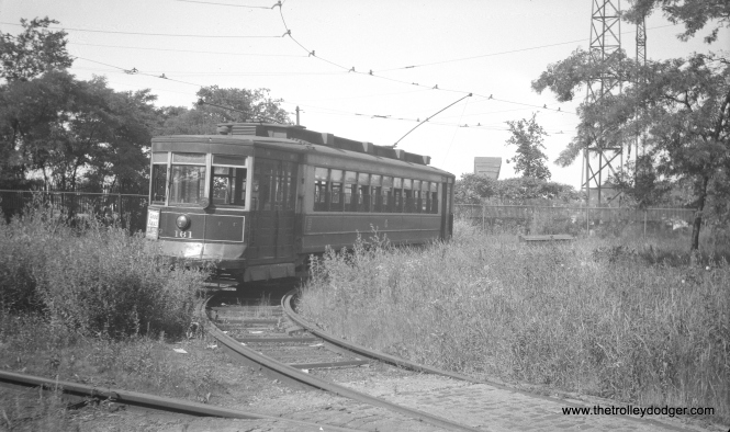 This July 1948 picture of CSL 161 shows it in the weeds at that portion of the Cermak line extended to the lakefront for the Chicago World's Fair.