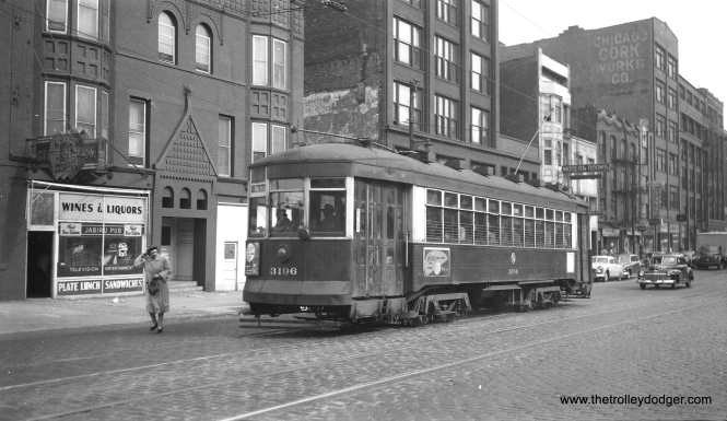 CTA 3196 at Wabash and Roosevelt in March 1953.