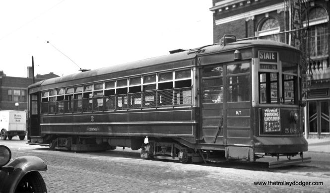 You would be forgiven for thinking that this photo of CSL Brill car 5986 was taken on State. In actuality, this is Lake and Austin, with the old Park Theater in the background. This was the west end of the line, at the city limits. This car was on the Lake-State through route 16. The through route was discontinued in 1946, and streetcar service on Lake in 1954. This picture dates to the 1930s.