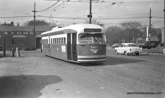 "CTA 7217 at 77th and Vincennes in February 1953. We have run this picture before (in More Chicago PCC Photos – Part Five, October 28, 2015), but now we own the original negative. One of our readers thinks that CTA 7217 is likely eastbound on 78th pulling off of Vincennes Avenue. They continue, ""Since the sun is obviously in the east, this appears to be a route 22 pull-in after the AM rush."" The date given for that other version of the picture was December 1953, and it was credited to Harold A. Smith."