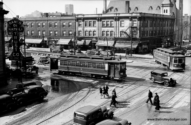 "CSL ""Big"" Pullman 183 is eastbound on Roosevelt at Ashland on January 15, 1937, while 5502, an Ashland car, is turning west onto Roosevelt to jog over to Paulina. That's Immanuel Lutheran Church in the background."