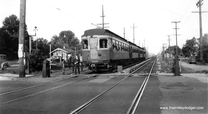 A four-car train of the woods that were (at that time) being leased to CA&E by the North Shore Line. We see them at York Road in 1937. (Edward Frank, Jr. Photo)