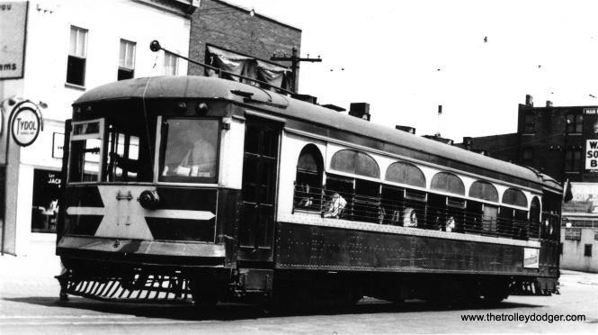 "This is a rare photo, as it shows AE&FRE car 304 sometime prior to the abandonment of passenger service in 1935. Don's Rail Photos: ""304 was built by St Louis Car in 1924. #1306. In 1936 it was sold CI/SHRT (aka Shaker Heights Rapid Transit) as 304 and in 1954 it was sold to CP&SW (Trolleyville USA) as 304. It was sold to Fox River Trolley Museum in 2009."" I have had the pleasure of riding on this fine car at the Fox River Trolley Museum, as it has returned to its home rais after a 75-year absence. You can see pictures I took of it there on the previous blog that I worked on here. Long may it run."