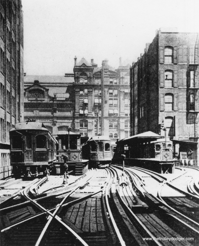 This is a well-known photo showing the Wells Street Terminal, where CA&E cars ended up in downtown Chicago starting in 1905. CA&E trains did not go around the Loop, although this terminal was adjacent to it. There is some question as to whether all CA&E cars could actually make the Loop's tight clearances. To the best of my knowledge, some could and perhaps others could not.