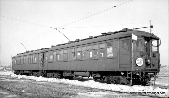 You may have seen this picture before, but here we now have it from the original medium format negative. It shows a two-car train of Chicago Rapid Transit Company 4000s on an early CERA fantrip (#6) that took place on February 12, 1939. The CA&E connection is that here we see the cars on the Mt. Carmel branch. These rapid transit cars did get around-- during World War II, some were operated on the North Shore Line to move service personnel around. (Anderson Photo)