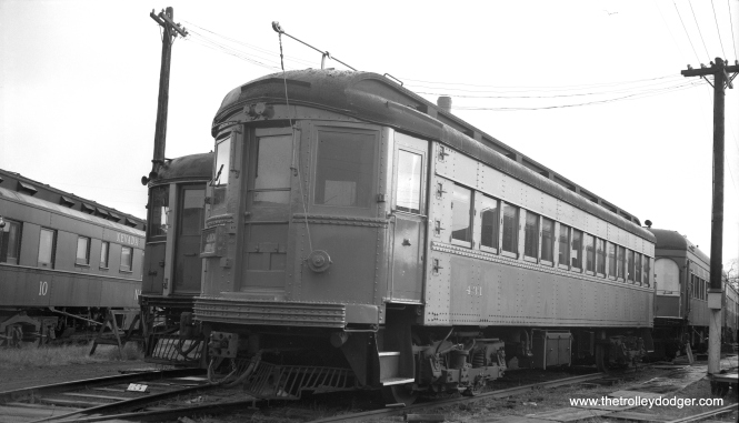 Here, part of the caption information I received with this negative must be wrong. This is CA&E 431 at the Illinois (Electric) Railway Museum. The date is given as November 17, 1962 but the location is said to be Union. Since the date is so specific, I would venture this is actually North Chicago instead. Cars were not moved to Union until 1964. (Richard S. Short Photo)